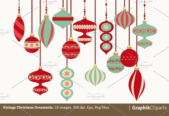 Vintage Christmas Ornaments - Illustrations