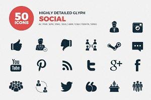 Glyph Icons Social Media Set
