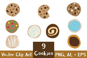 9 Cookies Clipart