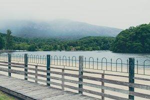 Misty Lake Lure Mountain Landscape