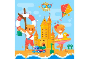 Children s summer activities at the beach. Flat vector illustration