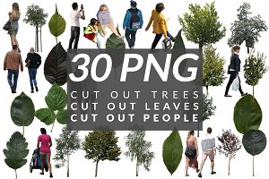 30 Cut out people, trees and leaves