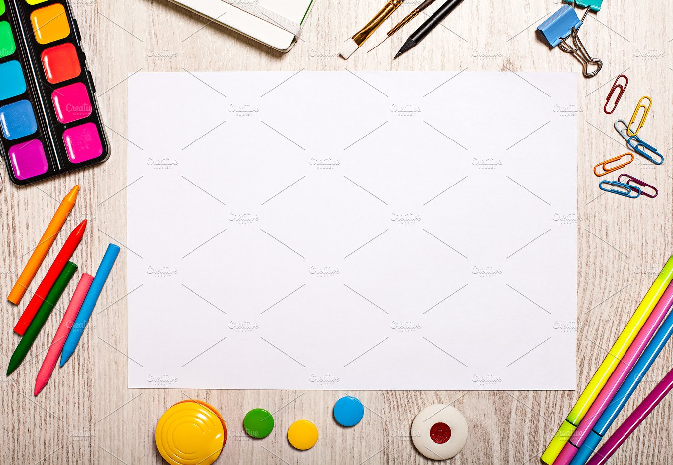 Blank page mockup on table Business