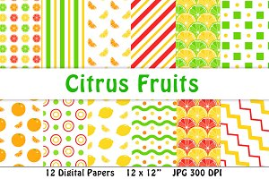 Citrus Fruits Digital Paper