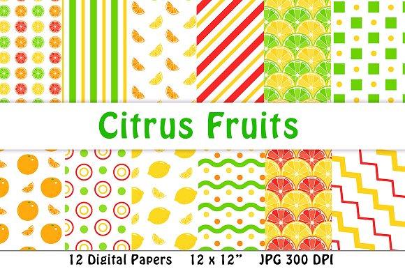 Citrus Fruits Digital Paper