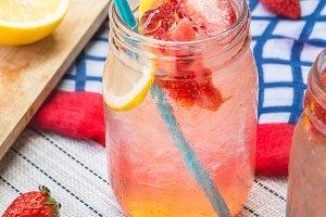 beverage strawberry lemon soda