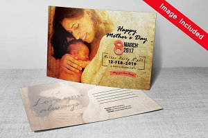 Happy Mother's Day Postcard Template