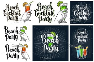 Cocktail beach party poster