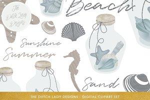 Glass Bottle Sea & Beach Clipart