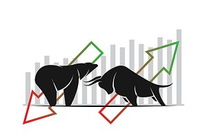 Bull and bear. Stock market trends.