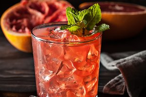 Juicy cold grapefruit drink