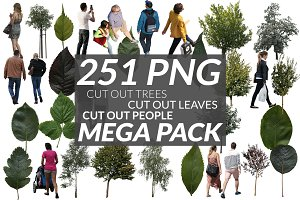 251 Cut out people, trees and leaves