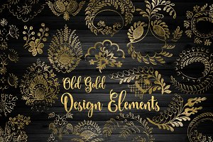 Old Gold Design Elements PNG