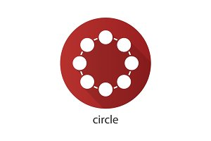Circle flat design long shadow icon