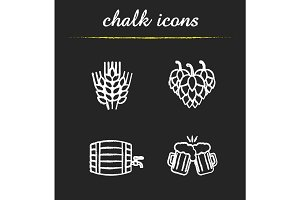 Beer chalk icons set