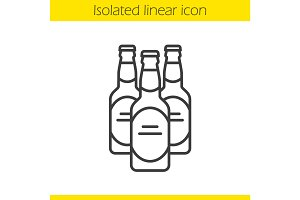 Beer bottles linear icon