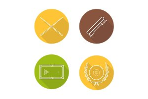 Billiard equipment flat linear long shadow icons set