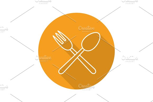 Eatery Flat Linear Long Shadow Icon