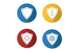 Protection shields flat design long shadow icons set
