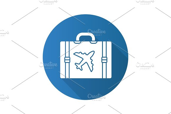 Travel Luggage Suitcase Flat Linear Long Shadow Icon