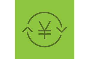 Japanese and China yen exchange glyph color icon