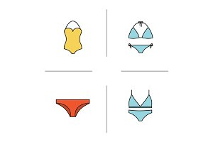 Women's underwear color icons set