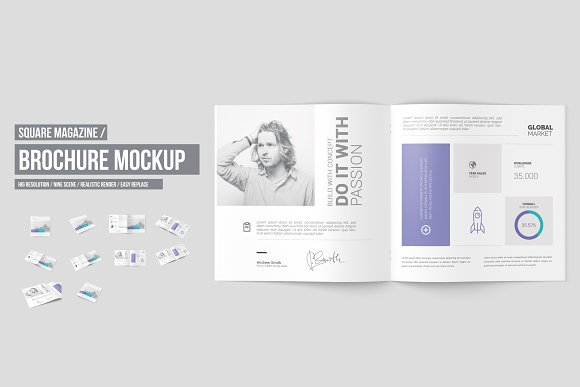 Square Brochure Magazine Mockup