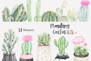 Planting Cactus Watercolor Clipart