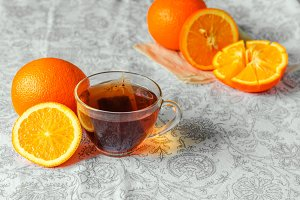 Orange hot tea for morning