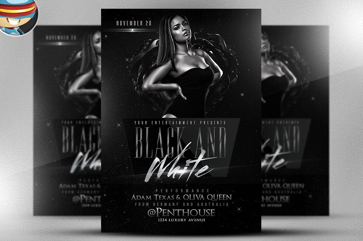 Black and white flyer template Photos Graphics Fonts Themes – Black and White Flyer Template