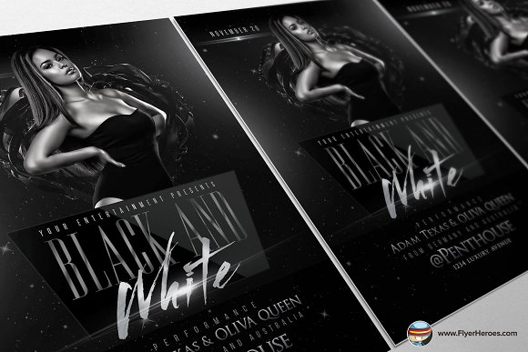 Black and White Flyer Template Flyer Templates Creative Market – Black and White Flyer Template