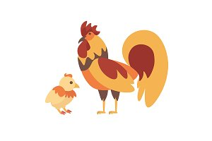 Cock and Chicken. Vector