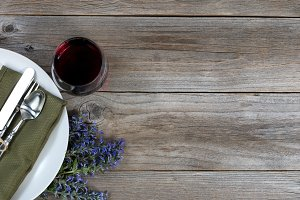 Red wine and vintage dinnerware