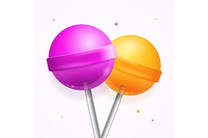 Sweet Candy Lollipops Set