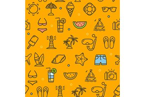 Summer Travel Pattern Background.