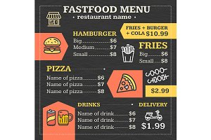 Fastfood Menu for Restaurant or Cafe