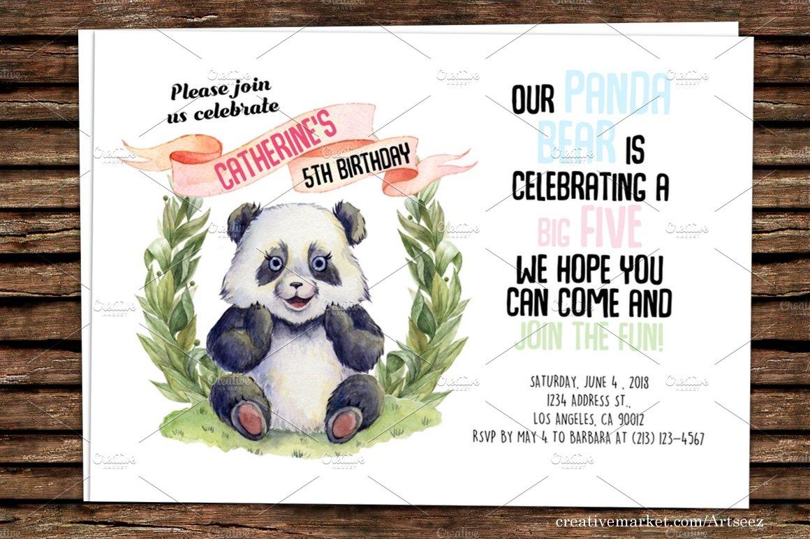 DIY Panda Printable Invitation ~ Invitation Templates ~ Creative Market
