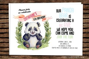 DIY Panda Printable Invitation