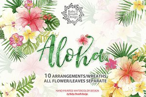 Watercolor Aloha Tropical design