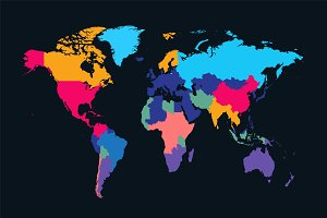 World map info graphic neon color