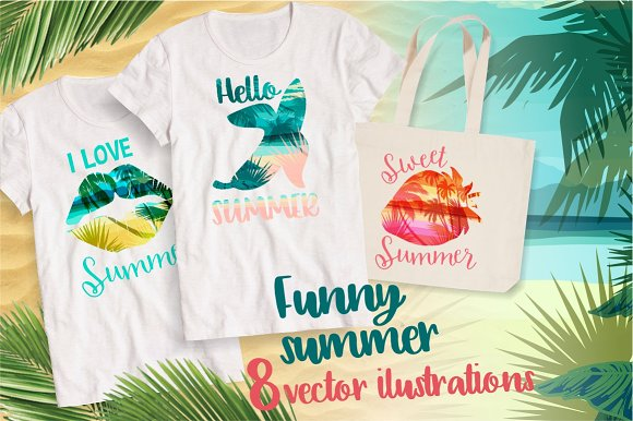 Funny Summer 8 Vector Illustrations