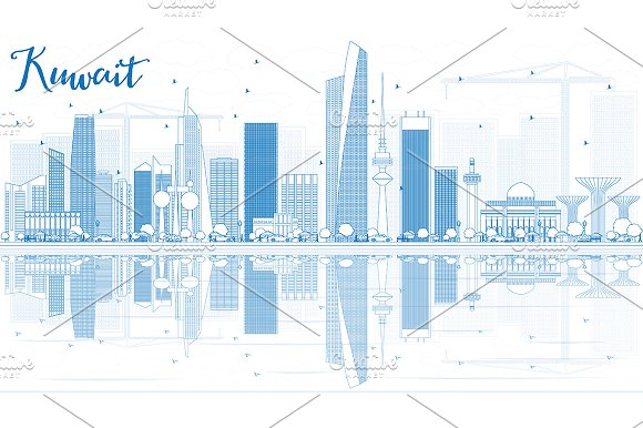 Outline Kuwait City Skyline
