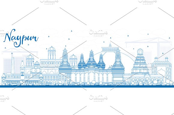 Outline Nagpur Skyline
