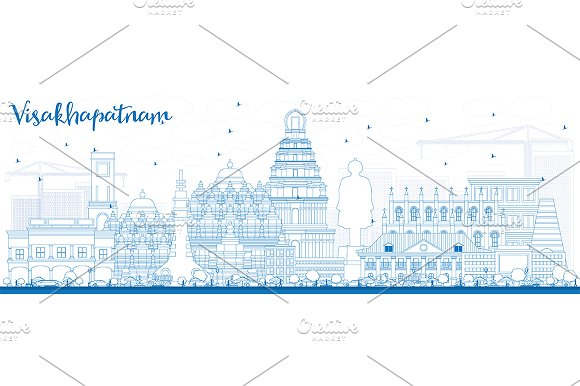 Outline Visakhapatnam Skyline  in Illustrations