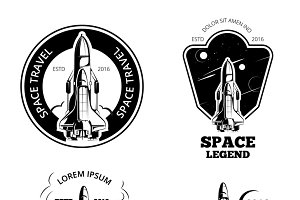 Space astronaut logos vector set