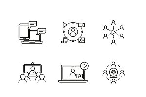 Webinar vector linear icons