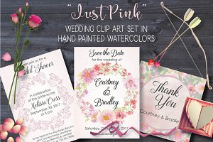 'Just Pink': watercolor bundle