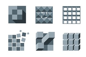 Cube and pixel logo vector set