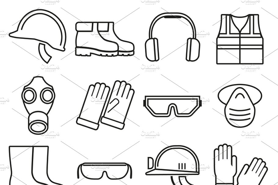 Job safety equipment icons set
