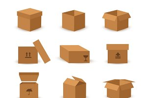 Flat box and packing vector icon